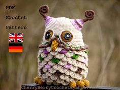 Ravelry: Owl toy or container PDF crochet pattern pattern by Cherry Berry Crochet