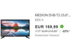 Ebay: Medion-TV mit DVB-T2 und integriertem DVD-Player für 169,99 Euro frei Haus https://www.discountfan.de/artikel/technik_und_haushalt/ebay-medion-tv-mit-dvb-t2-und-integriertem-dvd-player-fuer-169-99-euro-frei-haus.php In wenigen Wochen wird das klassische DVB-T in vielen Regionen Deutschlands abgeschaltet. Am heutigen Donnerstag ist der Umstieg auf den neuen Standard DVB-T2 zum Schnäppchenpreis möglich: Bei Ebay gibt es einen Medion-TV mit Triple-Tuner und integriert