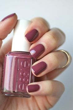 Nail Colors, Nail Polish Trends, Nail Care & At-Home Manicure Supplies by Essie. Shop nail polishes, stickers, and magnetic polishes to create your own nail art look. How To Do Nails, Fun Nails, Pretty Nails, Mauve Nails, Maroon Nails, Mauve Nail Polish, Deep Red Nails, Fall Nail Polish, Purple Nails
