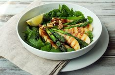 Asparagus and Grilled Pear Salad by Lorna McCormack. A delicious vegan wholefood salad, perfect for alfresco dining. Pear Salad, Salad Ideas, Al Fresco Dining, Vegan Friendly, Sprouts, Asparagus, Whole Food Recipes, Plant Based