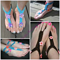 Charming Cherry Blossoms Barefoot Sandals - Available on Ravelry