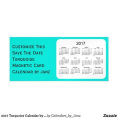 2017 Turquoise Calendar by Janz 9x4 Magnet Magnetic Card