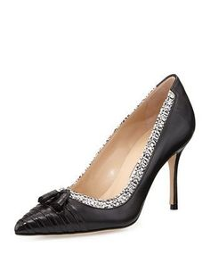 Lefino Leather/Tweed Tassel Pump by Manolo Blahnik at Bergdorf Goodman. Fancy Shoes, Me Too Shoes, Manolo Blahnik Heels, Beautiful High Heels, Shoes World, Latest Shoes, Bride Shoes, Fashion Heels, Vintage Shoes