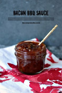 Bacon BBQ Sauce Kiss My Smoke Sweet and salty, this Bacon BBQ Sauce is sure to put a smile on your guests faces! Bacon Recipes, Grilling Recipes, Sauce Recipes, Cooking Recipes, Barbecue Recipes, Vegetarian Grilling, Healthy Grilling, Bacon Bbq Sauce Recipe, Vegetarian Food