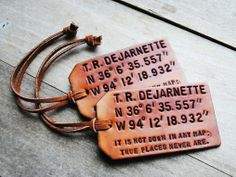 The coolest, customizable, leather luggage tags by OfTheFountain in Boston, MA.