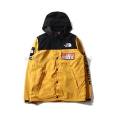 The North Face x Supreme Expedition Coaches Jacket ❤ liked on Polyvore featuring outerwear, jackets, the north face, yellow jacket, the north face jackets and coach jacket
