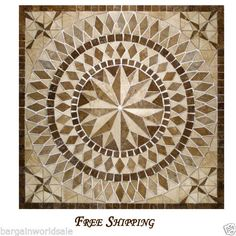 x Travertine Floor Medallion Mosaic Stone Tile Art Design Idea for sale online Travertine Floors, Honed Marble, Marble Floor, Concrete Floor, Kitchen Wall Tiles, Kitchen Flooring, Tile Flooring, Tile Art, Mosaic Tiles