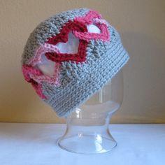 What a cute crochet heart hat!
