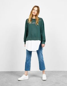 Bershka United Kingdom - Long sweatshirt with poplin shirt hem