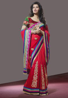 Red Faux Georgette #Saree with Blouse Online Shopping: SXZ1161