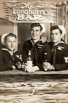 Three American sailors in a novelty photograph