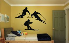 Wall Vinyl Sticker Decals Mural Room Design Pattern Art Decor Ski Sport Winter Extreme Snow bo2218 by RoomDecalsAndDesigns on Etsy