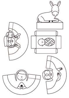 papírový betlém, betlem pro děti, vystřihovánka, omalovánky