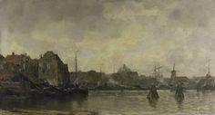 Jacob Maris   Stadsgezicht, Jacob Maris, 1898   Stadsgezicht. Gezicht op de waterkant van een grote Hollandse stad. Op de voorgrond het water, daarachter de gebouwen aan de kade en aangemeerde schuiten. In de verte een ronde koepel en een molen.