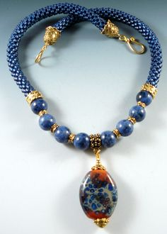 Focal bead necklace by the Beaded Swan