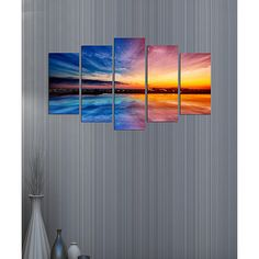 Wallity Blue & Gold Sunset Five-Panel Wall Art Set ($20) ❤ liked on Polyvore featuring home, home decor and wall art