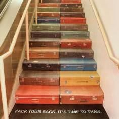 Pack your bags. It's time to thaw. Suitcase stairway! #travel #quotes #design