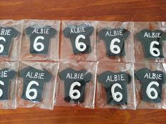 Fun Rugby shirt cookies for Albies 6th birthday. Great for the All Blacks fan in your life