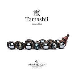 Tamashii - Bracciale originale tibetano realizzato con pietre naturali Ematite e legno orientale autentico con SIMBOLI MANTRA incisi a mano