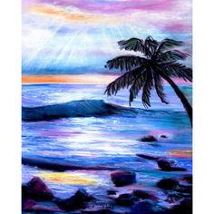 Heavenly Hawaiian Sunset ($26) ❤ liked on Polyvore featuring home, home decor, wall art, hawaiian wall art, ink painting, giclee painting, hawaiian paintings and hawaiian home decor
