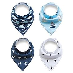 Baby Bandana Drool Bibs, Unisex 4-Pack Gift Set for Drooling and Teething, 100% Organic Cotton, Soft and Absorbent, Hypoallergenic - for Boys and Girls (01)