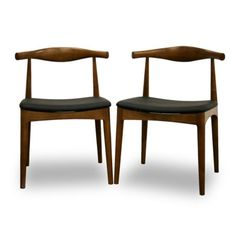Baxton Studio Set of 2 Sonore Solid Wood Mid-Century Style Dining Chairs, Walnut Solid Wood Dining Chairs, Metal Chairs, Dining Chair Set, Dining Room Chairs, Eames Chairs, Bar Chairs, Ikea Chairs, High Chairs, Office Chairs