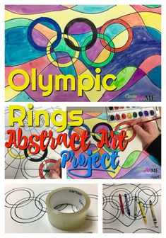 Olympic Rings Abstract Art Project Crayon and Watercolor resist painting. Elementary Art project, after school art project
