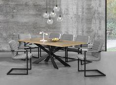 Tisch in edlem und zeitlosem Eiche-Design + Designstuhl im 6er-Set - 86,5 x 60cm - grau