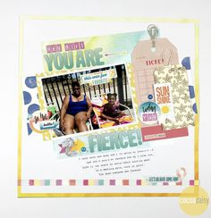 You Are Fierce by Victoria Calvin, Guest Designer using the Under the Sea collection from www.cocoadaisy.com #cocoadaisy #kitclub #scrapbooking #layout #DITL #stamping #ombre #mixed #font #title #stckiers #diecuts #typing #journaling #strips #tags