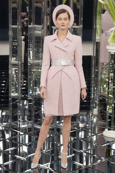 Classic Chic and Demure Haute Couture: 1960s style sculpted tweed skirt-suit at Chanel Spring 2017 #Couture #SS17 #PFW