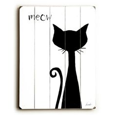 """See this and similar wall art - Meow. planked wooden art sign. image from an original acrylic painting. giclee printed with archival ink on 1/2"""" wood. signed an..."""
