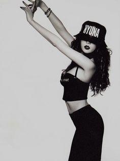 #hyuna #4minute #b&w #kpop #bob #asian girl #korean