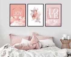 Set of 3 downloadable prints Printable modern art in blush