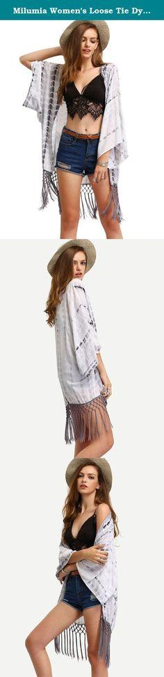 Milumia Women's Loose Tie Dyed Tassel Kimono Cardigan Blouse Top White L. Size Chart: S: Length: 31.5 inch, Bust: 45.9 inch, Shoulder: 48.0 inch M: Length: 31.7 inch, Bust: 46.9 inch, Shoulder: 49.0 inch L: Length: 31.9 inch, Bust: 47.8 inch, Shoulder: 50.0 inch XL: Length: 32 inch, Bust: 48.8 inch, Shoulder: 51.0 inch .