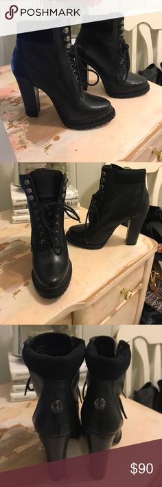 WORN ONCE! BCBG lace up combat boot heels Very comfortable and tons of support! I LOVE BCBG Shoes for that very reason, but these are too small for me :( very sad to part ways with them! BCBG Shoes Ankle Boots & Booties
