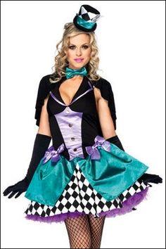 Alice in Wonderland Delightfully Mad Hatter Adult Ladies Halloween Costume