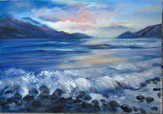 Пейзаж ручной работы. Ярмарка Мастеров - ручная работа. Купить Морской пейзаж, горы и море, пейзаж маслом. Handmade. Синий