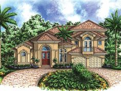 Eplans Mediterranean House Plan - Coastal Beauty - 3676 Square Feet and 5 Bedrooms from Eplans - House Plan Code HWEPL14418