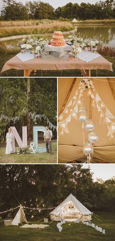 Got this image from a wedding page, but the tent is a very romantic setting, maybe for a camp-out on your back yard while the kids are at grandmas..