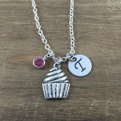 Personalized Cupcake Necklace - Hand stamped Monogram Cupcake Necklace - Initial, Birthstone Necklace - Little Girl Necklace - Party Favor by SunflowerShadows on Etsy
