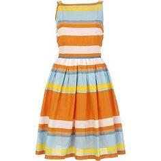 orange stripe prom dress