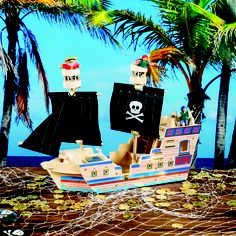 Our Deluxe Pirate Ship Play Set is a bright colored pirate ship that includes a 3 man crew. #PirateParty