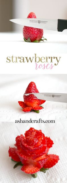 Learn how to cut strawberries into roses. See this tutorial and more at ashandcrafts.com: