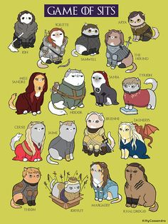 """The """"Game of Sits"""" is funny fan art or parody art inspired by Game of Thrones, featuring cats! Game Of Thrones Cat, Dessin Game Of Thrones, Arte Game Of Thrones, Tyrion And Sansa, Arya, Game Of Thrones Instagram, Game Of Trones, Cute Office, Kitty Games"""