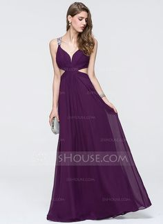 A-Line/Princess V-neck Floor-Length Ruffle Beading Zipper Up Crossed Straps Regular Straps Sleeveless No Grape Spring Summer Fall General Plus Chiffon Height:5.8ft Bust:33in Waist:23in Hips:35in US 2 / UK 6 / EU 32 Prom Dress