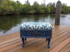 repurposed drawer to vintage blue ottoman, painted furniture, repurposing upcycling, reupholster (repurposed furniture flea market flips) Refurbished Furniture, Repurposed Furniture, Furniture Makeover, Painted Furniture, Refurbished Phones, Chair Makeover, Furniture Projects, Furniture Making, Diy Furniture