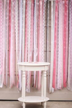 {DIY} Ribbon + Lace Backdrop Tutorial | Oh Lovely Day For the. Dressing room