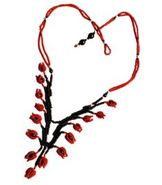Bluebell Necklace red and black
