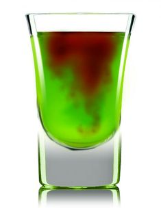 Zombie Bite  Ingredients      1 oz. Lucid Absinthe     1 oz. Midori Melon Liqueur     1 oz. lemon-lime soda     1.5 oz. pineapple juice  Preparation  In a cocktail shaker, add absinthe, melon liqueur, pineapple juice and ice. Shake vigorously and strain into a shot glass. Splash lemon-lime soda on top and a drizzle of grenadine.