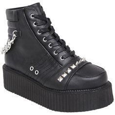 Demonia Whiplash Studded Creepers (580 HRK) ❤ liked on Polyvore featuring shoes, strappy shoes, black creeper shoes, zip shoes, vegan shoes and creeper platform shoes